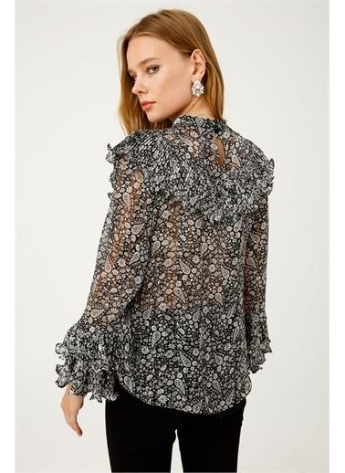 Ekol Ekol Kadın Simli Desenli Pilise Detaylı Bluz 6053017  Gümüş